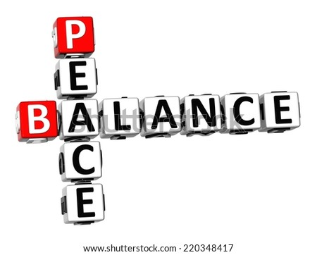 3D Crossword Balance Peace on white background