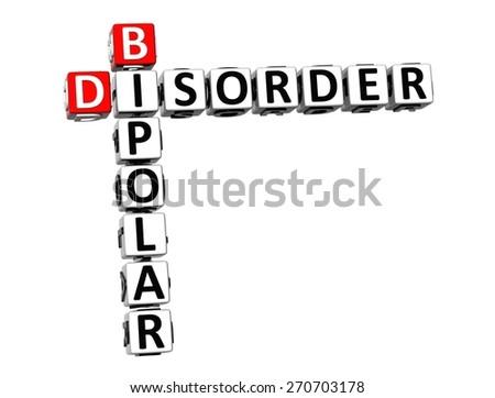 3D Crossword Bipolar Disorder over white background. - stock photo