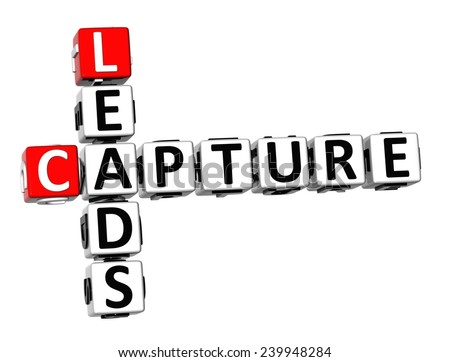 3D Crossword Capture Leads on white background  - stock photo