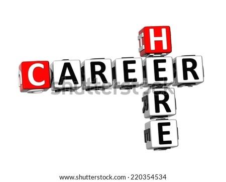 3D Crossword Career Here on white background - stock photo