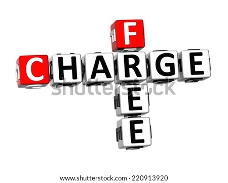 3D Crossword Charge Free on white background - stock photo