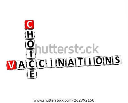 3D Crossword Choice Vaccinations on white background - stock photo
