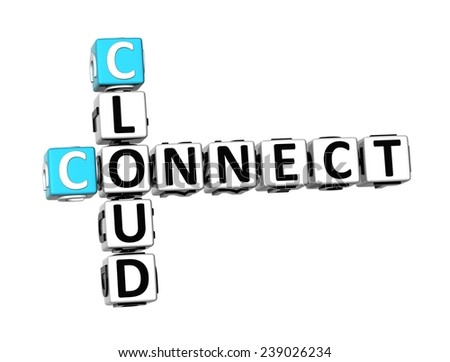 3D Crossword Cloud Connect on white background  - stock photo