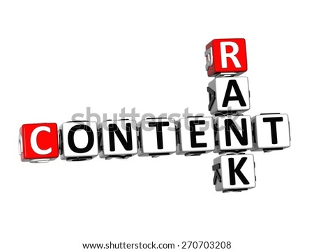 3D Crossword Content Rank over white background. - stock photo