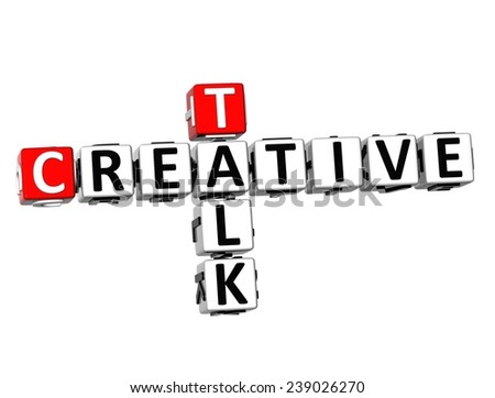 3D Crossword Creative Talk on white background  - stock photo