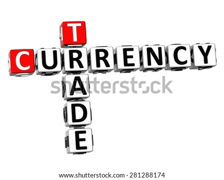 3D Crossword Currency Trade Forex over white background - stock photo