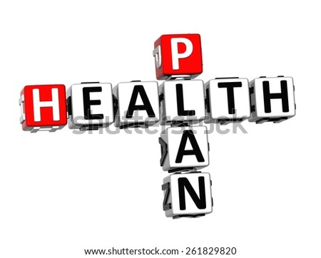 3D Crossword Health PLan on white background - stock photo