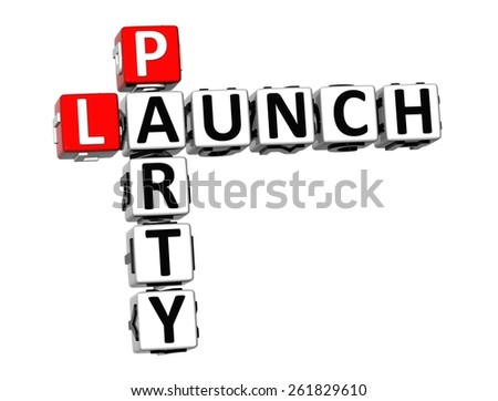 3D Crossword Launch Party on white background - stock photo