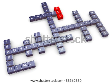 3d crossword of seo (search engine optimization - stock photo