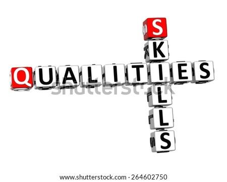 3D Crossword Qualities Skills on white background - stock photo