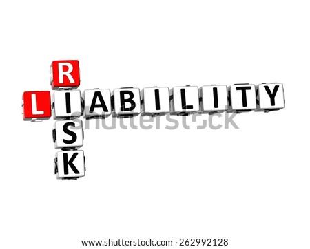 3D Crossword Risk Liability on white background - stock photo
