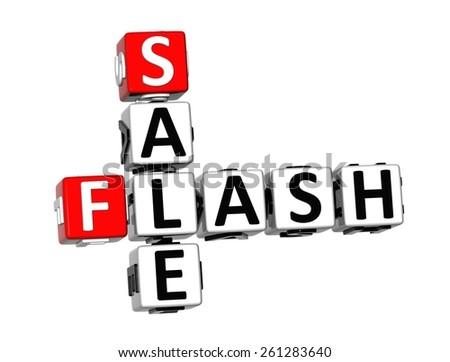 3D Crossword Sale Flash on white background - stock photo