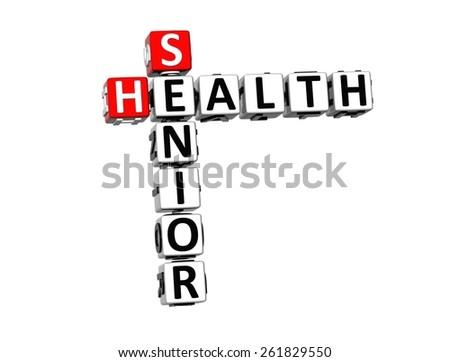 3D Crossword Senior Health on white background - stock photo