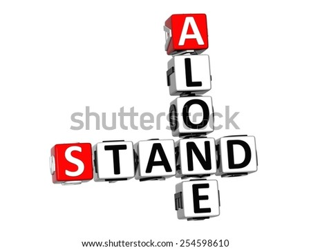 3D Crossword Stand Alone on white background - stock photo