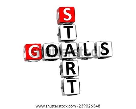3D Crossword Start Goals on white background  - stock photo