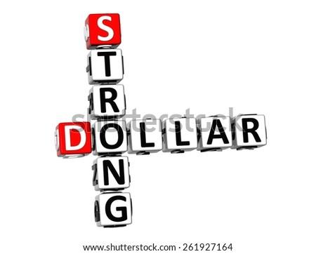 3D Crossword Strong Dollar on white background - stock photo