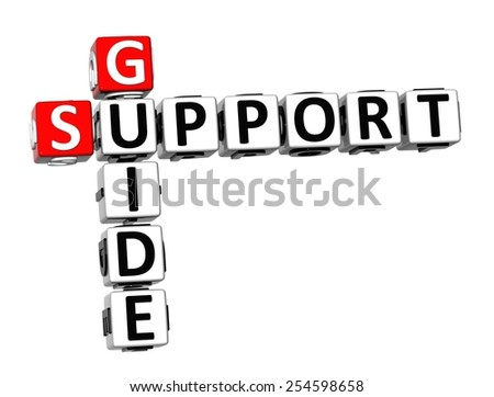 3D Crossword Support Guide on white background - stock photo
