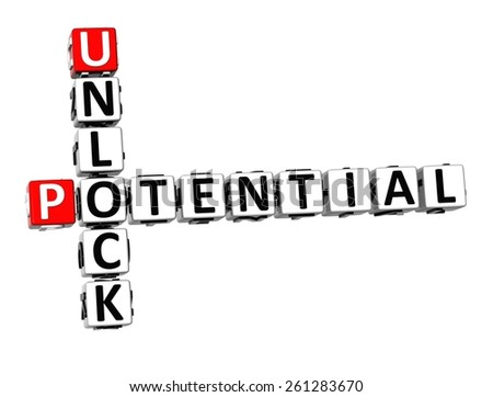 3D Crossword Unlock Potential on white background - stock photo