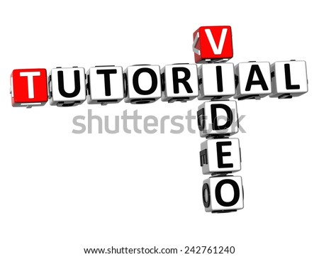3D Crossword Video Tutorial on white background  - stock photo