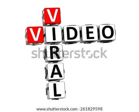 3D Crossword Viral Video on white background - stock photo