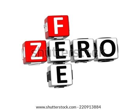 3D Crossword Zero Fee on white background - stock photo