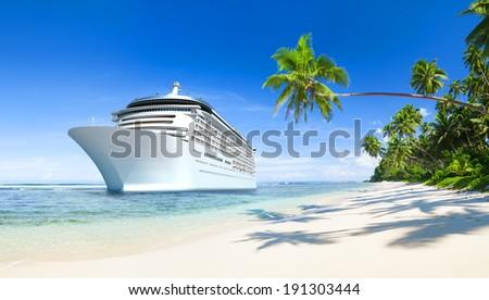 3D Cruise Ship - stock photo