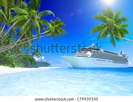 3D Cruise Ship at Tropical Beach - stock photo