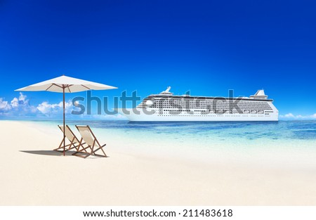 3D Cruise Ship by a Beach - stock photo