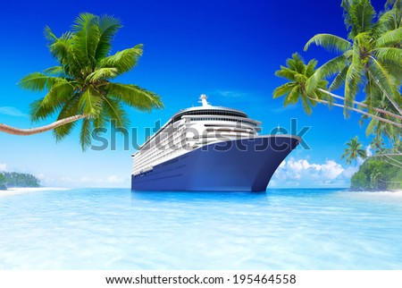 3D Cruise ship in the Summer time - stock photo