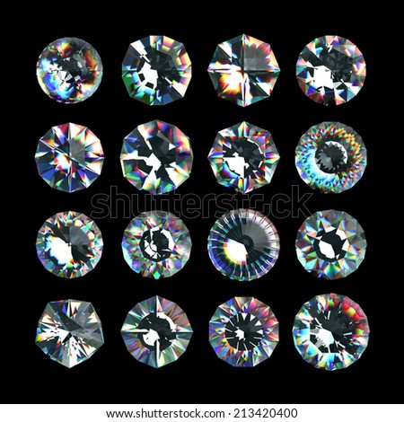 3d crystals, assorted cut gemstones, clear jewels, diamonds and brilliants - stock photo