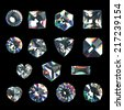 3d crystals, assorted shape cut gemstones, clear jewels, diamonds and brilliants - stock