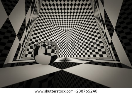 D Cube Checkered There Chrome Sphere Stock Illustration - 3 dimensional floors