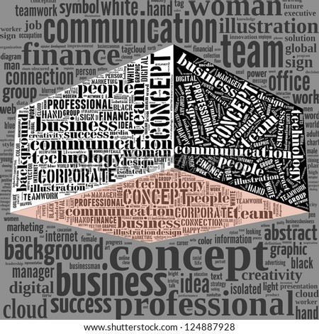 3D Cube. cloud of words business concept