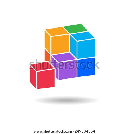 3d cube colored icon. Geometric symbol with shadow. 4 cube composition.