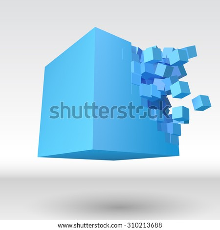 3D cube object explosion with cubical particles - stock photo