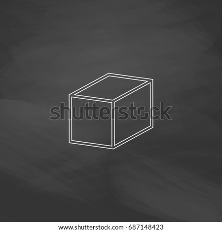 3d cube Simple flat button. Line button. Imitation draw with white chalk on blackboard. Contour Pictogram and School board background. Outine illustration icon