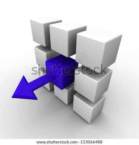 3d cube with a blue arrow on a white background