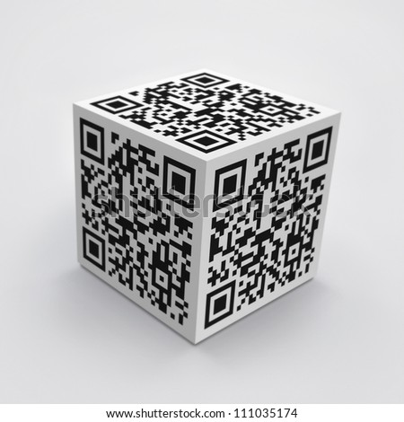 3D cube with QR code concept image. - stock photo