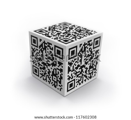 3D cube with QR code concept image. Isolated on white. - stock photo