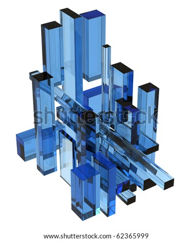 3D cubes blue glass abstraction (isolated) - stock photo