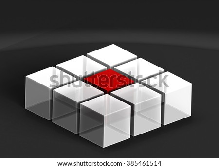 3D Cubes  - Business teamwork, internet and communication concept