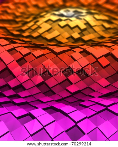 3d Cubes in the waves - stock photo