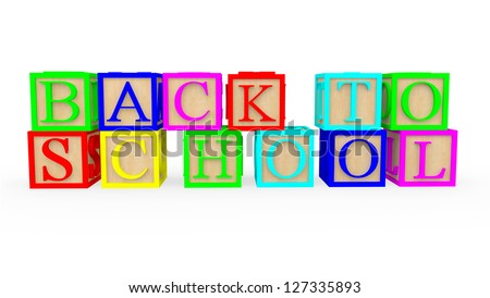3D cubes with letters spelling back to school - isolated