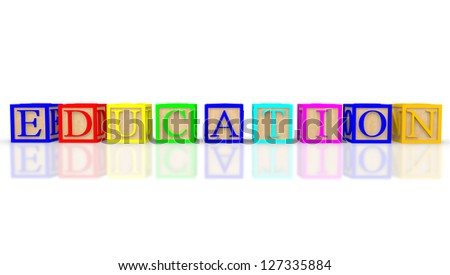 3D cubes with letters spelling education - isolated over white - stock photo