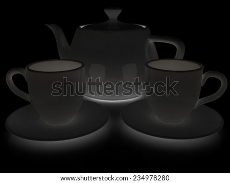 3d cups and teapot on a black background - stock photo
