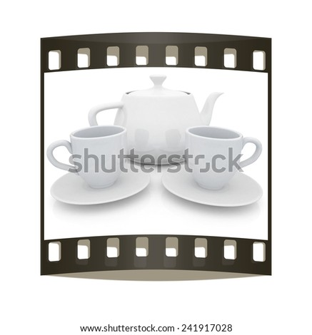 3d cups and teapot on a white background. The film strip - stock photo