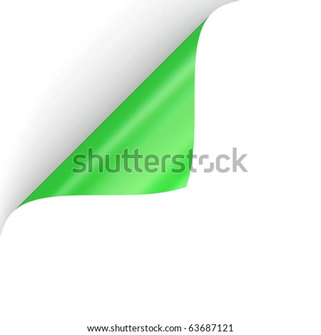 3D curled green paper corner from my corner collection - stock photo