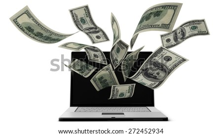 3D. Currency, Computer, Electronic Banking. - stock photo