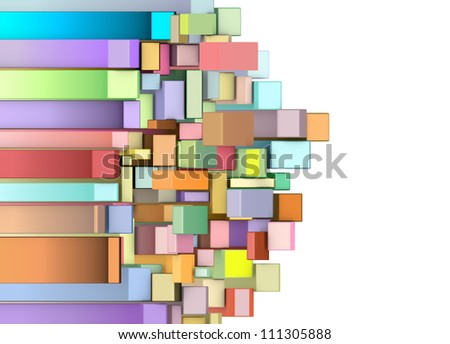 3d curved rectangular shapes in multiple color on white - stock photo