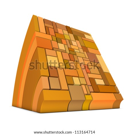 3d curved rectangular shapes in orange on white - stock photo